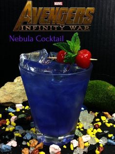 Marvel Avengers Cocktails: the Nebula made with vodka, chambord, and rum. For all your MCU watching parties! #MCU #cocktailrecipe #cocktailrecipe #partyideas #partyplanning #partyfood #marvel #marvelcomics #avengersinfinitywar #avengers Blue Drinks, Fruity Drinks, Frozen Drinks, Summer Drinks, Sonic Drinks, Mixed Drinks, Disney Cocktails, Party Drinks, Cocktail Drinks