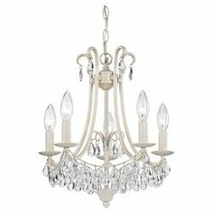 5 Light Mini Chandelier in Antique Cream