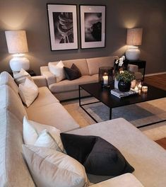Keep up to date with the latest small living room decor ideas (chic & modern). Find good ways to get stylish design even if you have a small living room. Living Room Furniture Layout, Living Room Interior, Home Living Room, Living Room Decor, Living Room With Grey Walls, Living Room With Carpet, Dark Wood Floors Living Room, Wood Walls, Bedroom Furniture