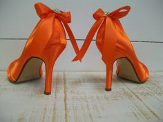 Wedding Shoes Orange Shoes Bows On Heels Orange by Parisxox