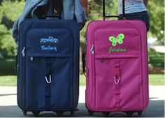 Kids Luggage in blue and pink featuring rolling carry-on with free personalization for boys and girls.