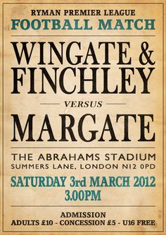 Match poster for Wingate & Finchley v Margate - Season 2011/12