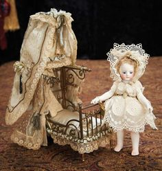 Simon & Halbig Dolls — All-Bisque Doll with Antique Lace Costume and Little Mesh Gilt Metal Purse, Victorian Dolls, Vintage Dolls, Dollhouse Accessories, Doll Accessories, Dollhouse Dolls, Miniature Dolls, Porcelain Doll Makeup, Porcelain Vase, Porcelain Jewelry