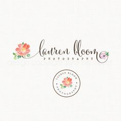 Peony Flower Logo Watercolor Logo Watermark by stylemesweetdesign