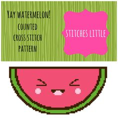 Kawaii Cross Stitch Pattern  Yay Watermelon  PDF by #StitchesLittle, $2.00