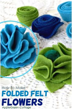 How to make felt flowers with 4 free flower templates. An easy-sew tutorial to make folded felt flowers, one of the easiest ways to make gorgeous felt decoration. Simple to make but beautiful, a DIY decoration for all occasions. Get them now and craft your own beautiful folded flowers! Also scroll down for an additional type of diy felt flowers - those are the easiest of all I know! #feltflowers #diyflowers #crafts Felt Flowers, Diy Flowers, Paper Flowers, Felt Decorations, Diy Decoration, Felt Diy, Felt Crafts, Sewing Patterns Free, Free Sewing