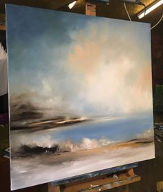 Abstract Art Paintings 423760646188821073 - additional image Source by pdelbruyere Abstract Ocean Painting, Sky Painting, Seascape Paintings, Art Paintings, Painting Process, Indian Paintings, Landscape Art, Landscape Paintings, Pastel Landscape