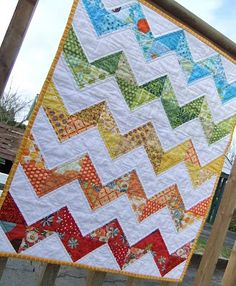 Zig Zag Rainbow quilt.  on Making More with Less
