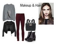 Today's style: #greysweater #blackleatherjacket #deepredpants #smokeyeye #deepredlipstic  #messyhair #leatherboots