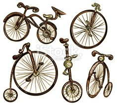 Assorted old fashioned bicycles isolated on white Royalty Free Stock Vector Art Illustration