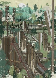 Bartlett student Damien Assini suggests replacing railway with zero-carbon towns Bartlett School Of Architecture, Architecture Collage, Architecture Graphics, Architecture Portfolio, Architecture Drawings, Gothic Architecture, House Architecture, Landscape Architecture, Landscape Design