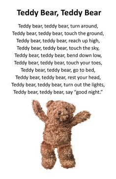 Teddy bear song - Baby Wear Teddy bear song The Effective Pictures We Offer You About Baby Tips for new moms A quality picture can tell you many things. You can find the most beautiful Bears Preschool, Preschool Music, Hello Songs Preschool, Preschool Fingerplays, Teddy Bear Day, Teddy Bear Poem, Teddy Bear Themes, Teddy Bear Quotes, Teddy Bear Crafts
