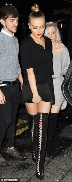 Hard to miss: Perrie Edwards (left) was on hand to celebrate Jade Thirlwall's (right) 23rd birthday at Newcastle hotspot BonBar on Saturday night