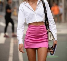 mixed textures fashion outfit with pink satin mini skirt and cropped white denim shirt fashion outfit Fashion Killa, Look Fashion, Fashion Outfits, Womens Fashion, Pet Fashion, Fashion Tips, Easy Style, Cool Outfits, Summer Outfits