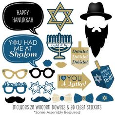 Happy Hanukkah - Hanukkah Photo Booth Props Kit - 20 Count