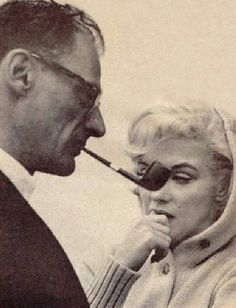 Marilyn and Arthur Miller during the filming of Let's Make Love, 1960.