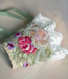 hand embroidered cuff from vintage linen