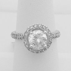 1.25 Carat 7mm Vintage Style Halo Engagement Ring with Cubic Zirconia CZ Stones