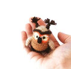 $29.68 crochet owl, miniature tiny #owl, woodland animal, amigurumi owl, miny owl, stuffed owl,brown orange, #homedecor, collectible, tiny animal, #handmade by crochAndi