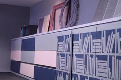 The Paint Makers shop office. Decoration made with one of our wall design stencils.  #furniture #upcycle #makeover #paint #design #blue #books