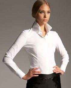 Alexander McQueen - High Collar Shirt. White. Convertible collar. Seamed detail. Long sleeves; button cuffs.   Available Neiman Marcus. Sleek & Elegant!