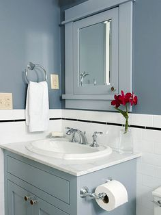 Clean lines and cool colors create a clean and simple bathroom space: http://www.bhg.com/bathroom/small/small-bathroom-ideas-traditional-style-bathrooms/?socsrc=bhgpin011015cleanandsimple&page=16