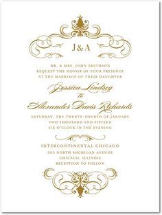Foil Stamping Wedding Invitations Swanky Swirls - Front : Gold Foil