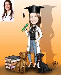 Caricaturas digitais, desenhos animados, ilustração, caricatura realista: Desenho de formanda de Medicina !!