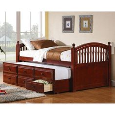 coaster furniture daybeds by captains daybed with trundle and storage drawers chestnut 400381t wood daybeds t84 daybeds