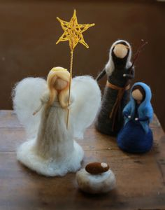 Needle Felted Nativity Angel Guardian Angel by CloudBerryCrafts