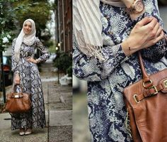 long dress with hijab and leather bag