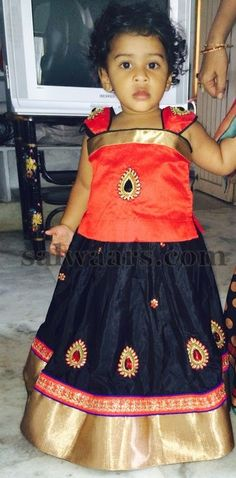Baby in Black Raw Silk Skirt | Indian Dresses