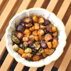 Sweet and salty glazed Brussels sprouts and root vegetables are a nutritious and delicious side dish for the fall and winter season. @jlevinsonRD
