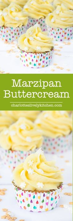 Marzipan Buttercream recipe: The ultimate icing for any marzipan fans. Perfect for topping your Christmas cake or mince pies. Buttercream Recipe, Icing Recipe, Frosting Recipes, Cupcake Recipes, Cupcake Cakes, Cake Icing, Drink Recipes, Marzipan Recipe, Marzipan Cake