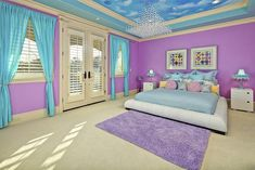 Purple and blue bedroom ideas for teenage girls bedroom paint ideas with pink single bed soft . purple and blue bedroom Purple Bedrooms, Blue Bedroom, Girls Bedroom, Master Bedroom, Master Bathrooms, Awesome Bedrooms, Cool Rooms, Small Rooms, Bedroom Themes