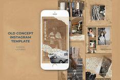 Old Concept Instagram Templates by Azruca on @creativemarket Instagram Fashion, Instagram Feed, Professional Presentation Templates, 4 Story, Image Model, Photo Texture, Social Media Template, Design Bundles