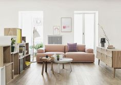 I could pretty much live in a home completely furnished in Muuto. Ugh, you're so good, Muuto. Modular Couch, Modular Furniture, Living Room Inspiration, Interior Inspiration, Home Living Room, Living Spaces, Living Area, Interior Pastel, Interior Styling