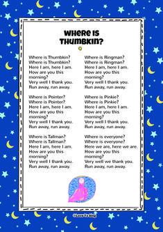 Where is Thumbkin Nursery Rhyme. Kids will love this fun sing along rhyme! Free … Where is Thumbkin Nursery Rhyme. Kids will love this fun [. Songs For Toddlers, Rhymes For Kids, Kids Songs, Nursery Rhymes Lyrics, Nursery Rhymes Songs, Kindergarten Songs, Preschool Songs, Where Is Thumbkin, Free Lyrics