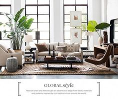 """My favorite style MMI's coined signature style """"cultural Contemporary"""" - Sharon Smith Home Living Room Modern, My Living Room, Home And Living, Living Room Designs, Living Room With Plants, Urban Deco, Contemporary Bedroom, Contemporary Living Room Decor Ideas, Contemporary Cottage"""