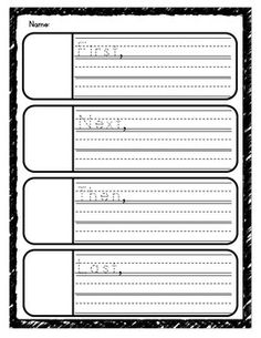 Use these graphic organizers to help students plan and organize a personal narrative. These can also be used to support story retells, summarizing, etc.I have included both lined and unlined versions, as well as basic transition words, and a blank form.