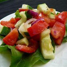 Tomato Cucumber Salad Recipe Salads with tomatoes, cucumber, onion, lemon juice, salt, ground black pepper