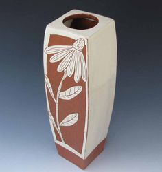 Tall Flower Vase with Cone Flowers White by RonPhilbeckPottery, $92.00