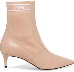 84dac8bbc56 Fendi - Logo-jacquard Ribbed Stretch-knit And Leather Sock Boots - Beige