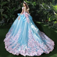 Stunning Pool Blue Wedding Dresses 2017 Scoop Neck Short Sleeve Backless Appliques Blushing Pink Flower Organza Ruffle Ball Gown Chapel Train in 2020 Pink Wedding Dresses, Cute Prom Dresses, Ball Dresses, Elegant Dresses, Pretty Dresses, Sexy Dresses, Wedding Gowns, Ball Gowns, Evening Dresses