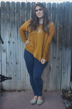 mustard yellow sweater and denim leggings H&M outfit
