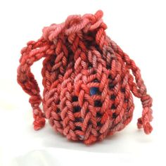Burgundy and Rose Loom Knit Mini Bag by allasattic on Etsy, $3.00