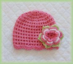 Baby Crochet Pink Flower Hat