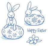 Vektor: Cute Easter Bunny sitting on easter egg, flower egg decoration, pattern. Hand drawn vector illustration.