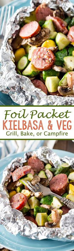 Foil Packet Kielbasa Recipe. A simple meal of kielbasa sausage and fresh garden yellow squash and zucchini, and mushrooms, lightly seasoned, and cooked in Handi-Foil for the perfect, simple meal. Insane flavor and only 5 minutes prep required. -  Eazy Peazy Mealz #foilpacket #kielbasa #veggiepacket #grillpacket #campfirepacket
