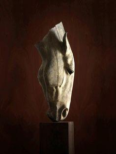 #Lead #sculpture by #sculptor Nic Fiddian Green titled: 'Silence (Big Outdoor garden Drinking Horse Head/Bust sculpture statue)'. #NicFiddianGreen